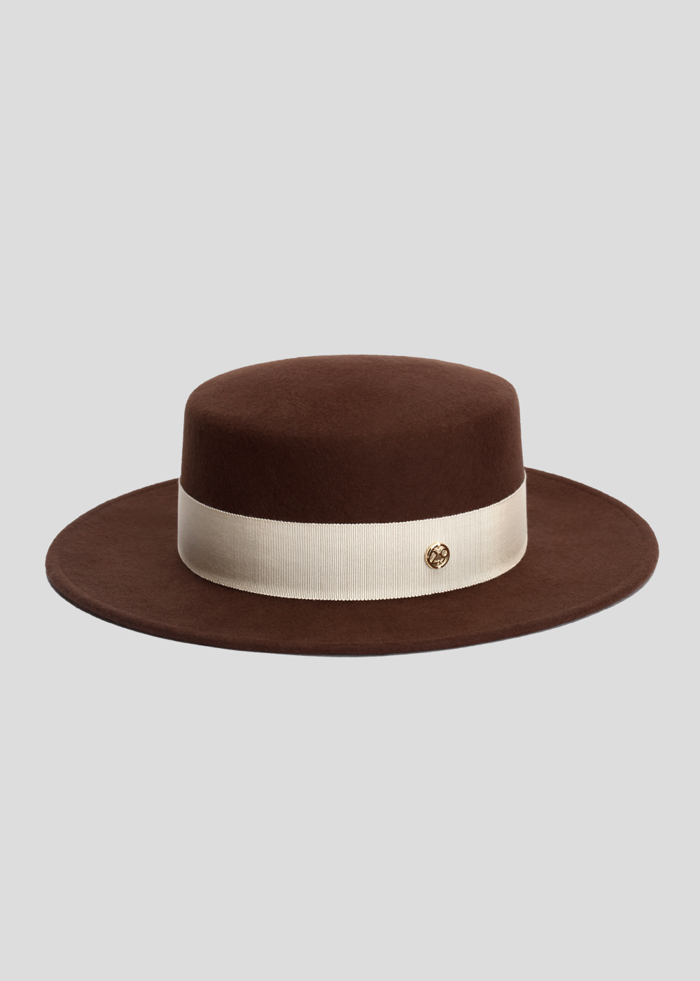 [sold out] classic boater dark brown/ ivory